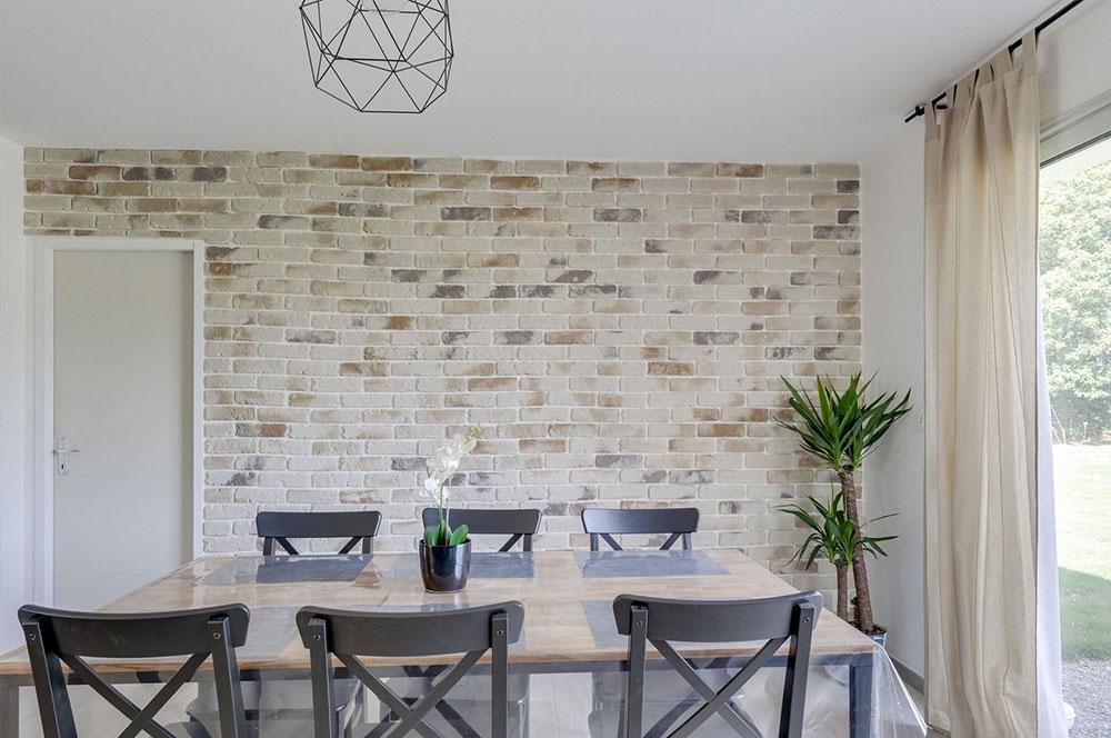 Mur de rouleaux de papier brique motif décoration salon intérieur pratique