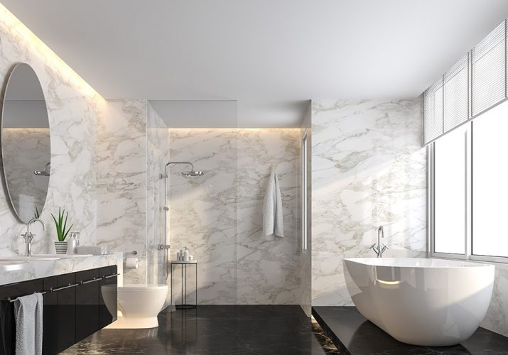 Tendances salle de bain 2021, le marbre